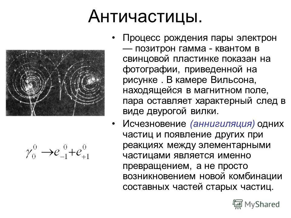 Античастицы. Процесс рождения пары электрон позитрон гамма - квантом в свинцовой пластинке показан на фотографии, приведенной на рисунке. В камере Вильсона, находящейся в магнитном поле, пара оставляет характерный след в виде двурогой вилки. Исчезнов