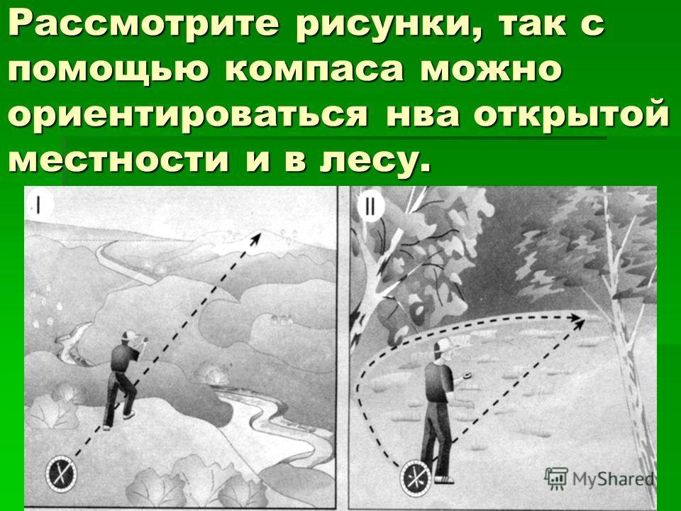 Рассмотрите рисунки, так с помощью компаса можно ориентироваться нва открытой местности и в лесу.