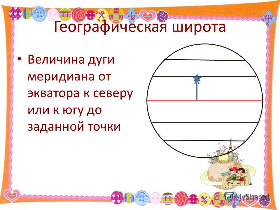 Географическая широта Величина дуги меридиана от экватора к северу или к югу до заданной точки