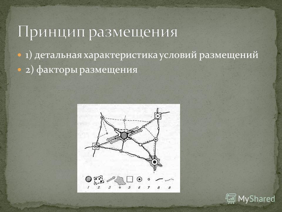 1) детальная характеристика условий размещений 2) факторы размещения