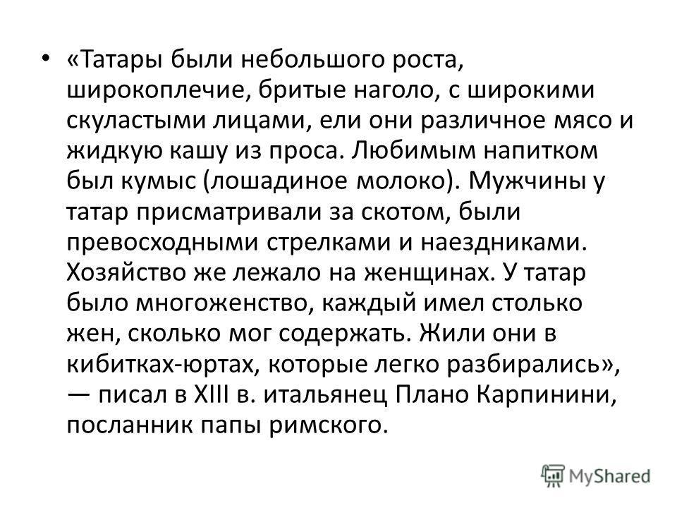 «Татары были небольшого роста, широкоплечие, бритые наголо, с широкими скуластыми лицами, ели они различное мясо и жидкую кашу из проса. Любимым напитком был кумыс (лошадиное молоко). Мужчины у татар присматривали за скотом, были превосходными стрелк