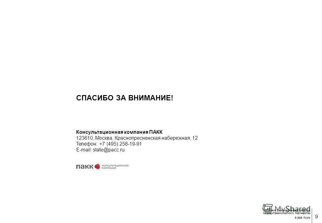 8 Источники финансирования проектов государственно-частного партнерства © 2008 ПАКК Источники финансирования концессионных проектов Западный скоростной диаметр – 212,7 млрд. руб. Федеральный бюджет (Инвестфонд РФ) – 33,5% Концедент (Санкт- Петербург)