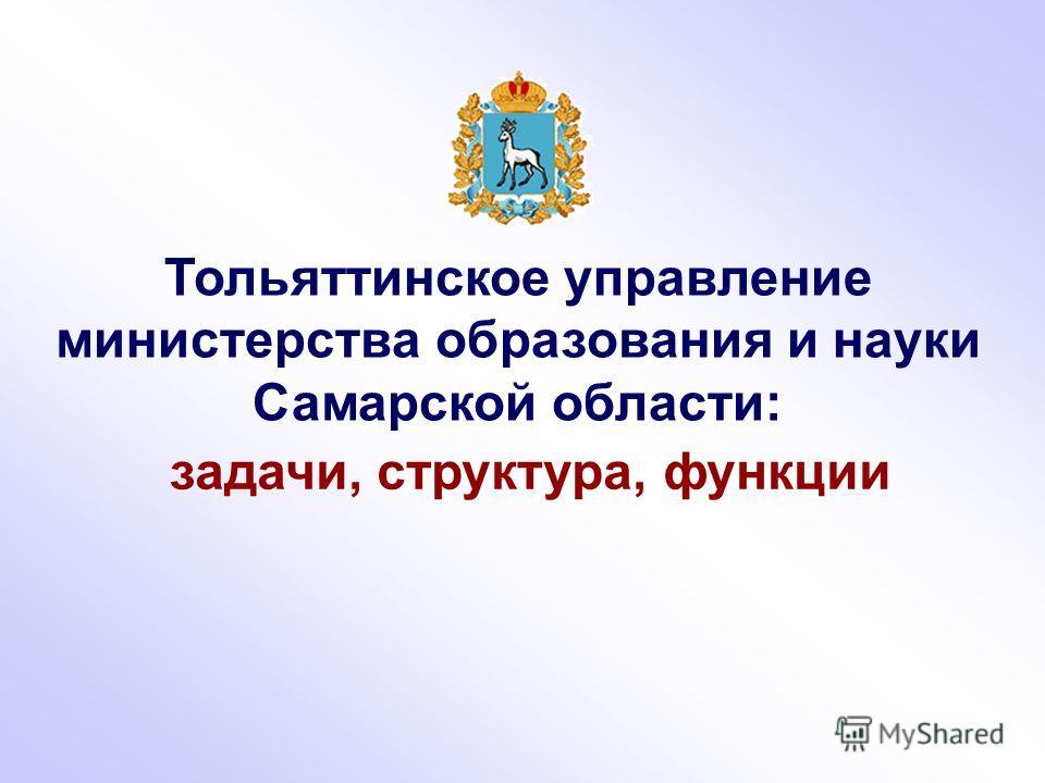 Тольяттинское управление министерства образования и науки Самарской области: задачи, структура, функции