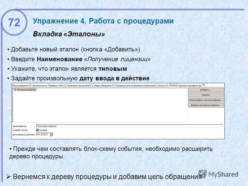 Вкладка «Эталоны» Упражнение 4. Работа с процедурами Добавьте новый эталон (кнопка «Добавить») Введите Наименование «Получение лицензии» Укажите, что эталон является типовым Задайте произвольную дату ввода в действие 72 Прежде чем составлять блок-схе