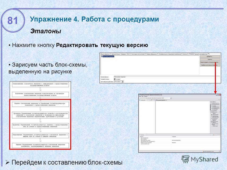 Эталоны Упражнение 4. Работа с процедурами 81 Нажмите кнопку Редактировать текущую версию Перейдем к составлению блок-схемы Зарисуем часть блок-схемы, выделенную на рисунке