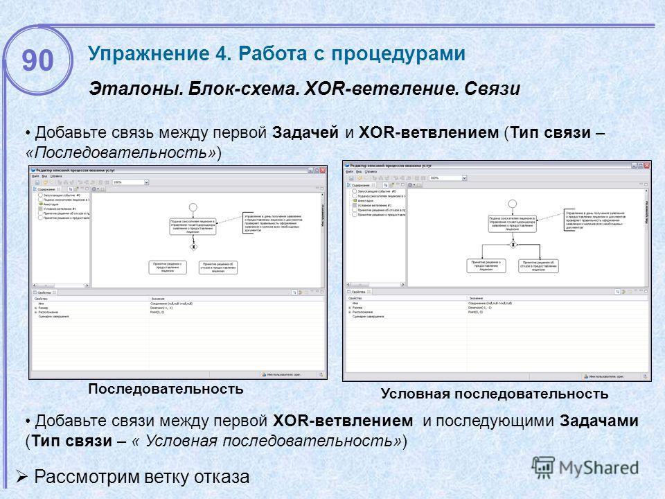 Эталоны. Блок-схема. XOR-ветвление. Связи Условная последовательность Добавьте связь между первой Задачей и XOR-ветвлением (Тип связи – «Последовательность») Добавьте связи между первой XOR-ветвлением и последующими Задачами (Тип связи – « Условная п