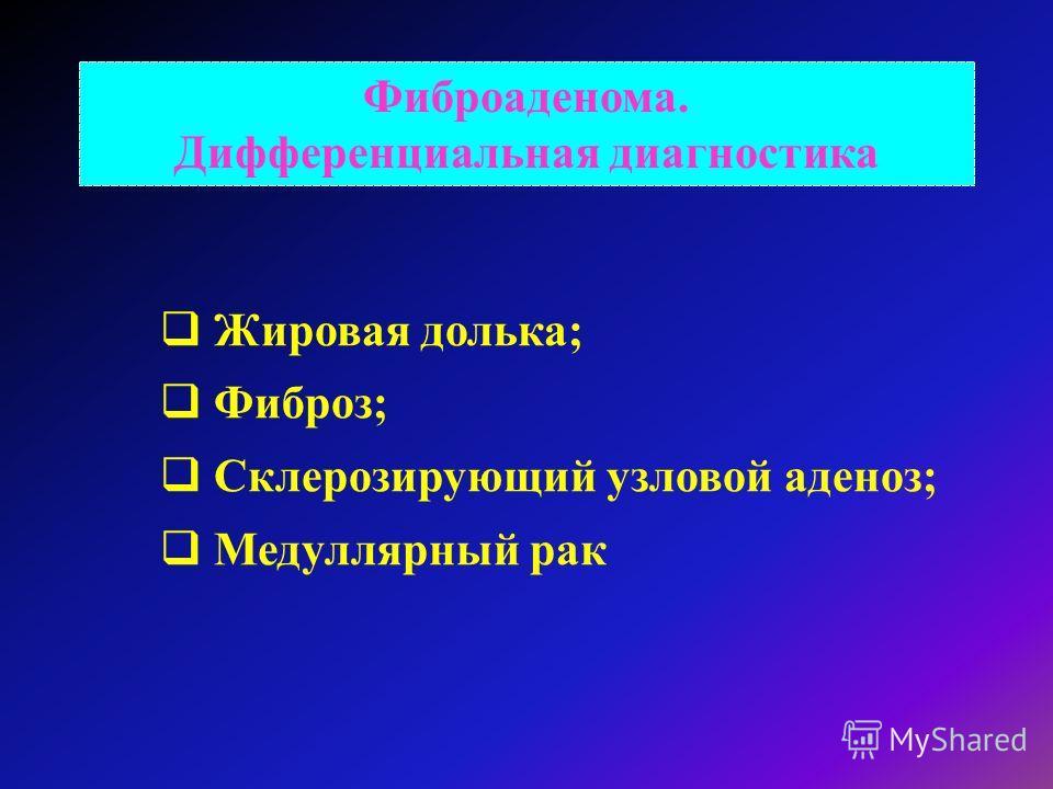 Фиброаденома. Дифференциальная диагностика Жировая долька; Фиброз; Склерозирующий узловой аденоз; Медуллярный рак