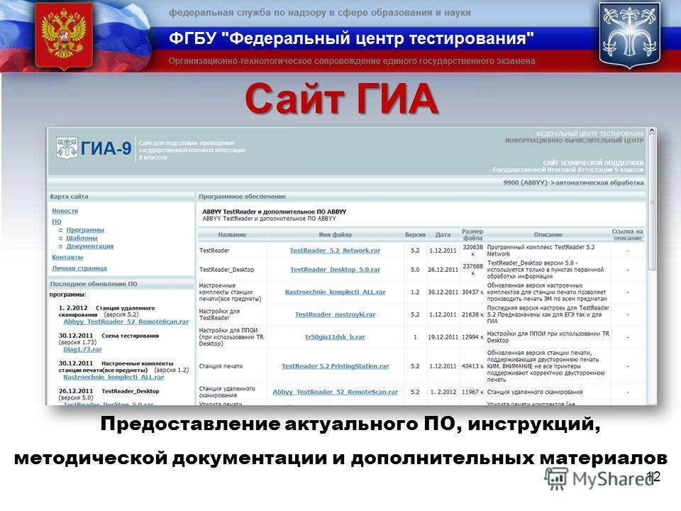 Сайт ГИА 12 Предоставление актуального ПО, инструкций, методической документации и дополнительных материалов