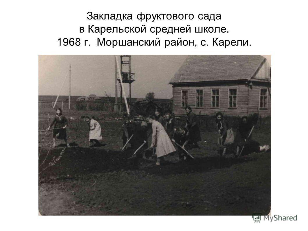 Закладка фруктового сада в Карельской средней школе. 1968 г. Моршанский район, с. Карели.