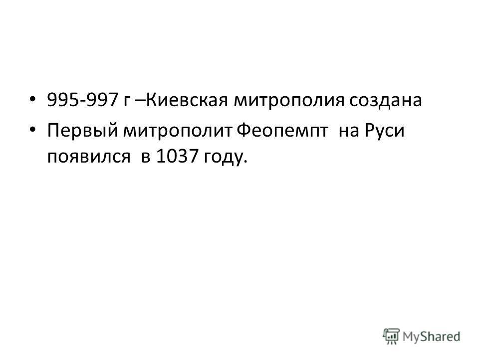 995-997 г –Киевская митрополия создана Первый митрополит Феопемпт на Руси появился в 1037 году.