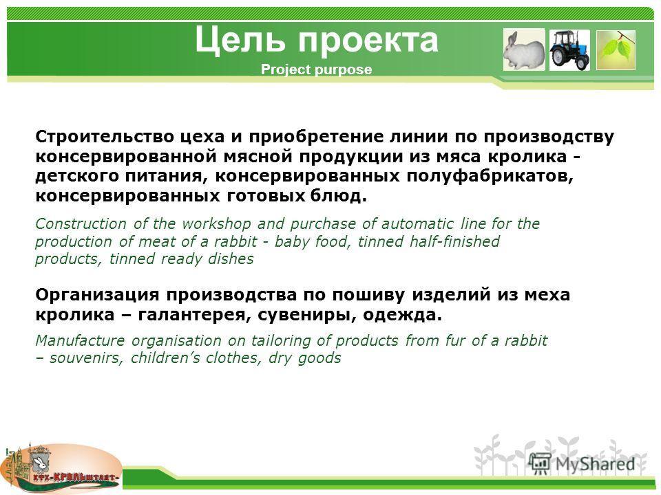 www.themegallery.com Цель проекта Project purpose Строительство цеха и приобретение линии по производству консервированной мясной продукции из мяса кролика - детского питания, консервированных полуфабрикатов, консервированных готовых блюд. Организаци