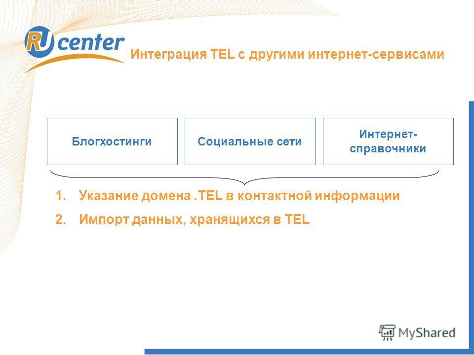 Как работает домен TEL? Интеграция TEL с другими интернет-сервисами БлогхостингиСоциальные сети Интернет- справочники 1.Указание домена.TEL в контактной информации 2.Импорт данных, хранящихся в TEL