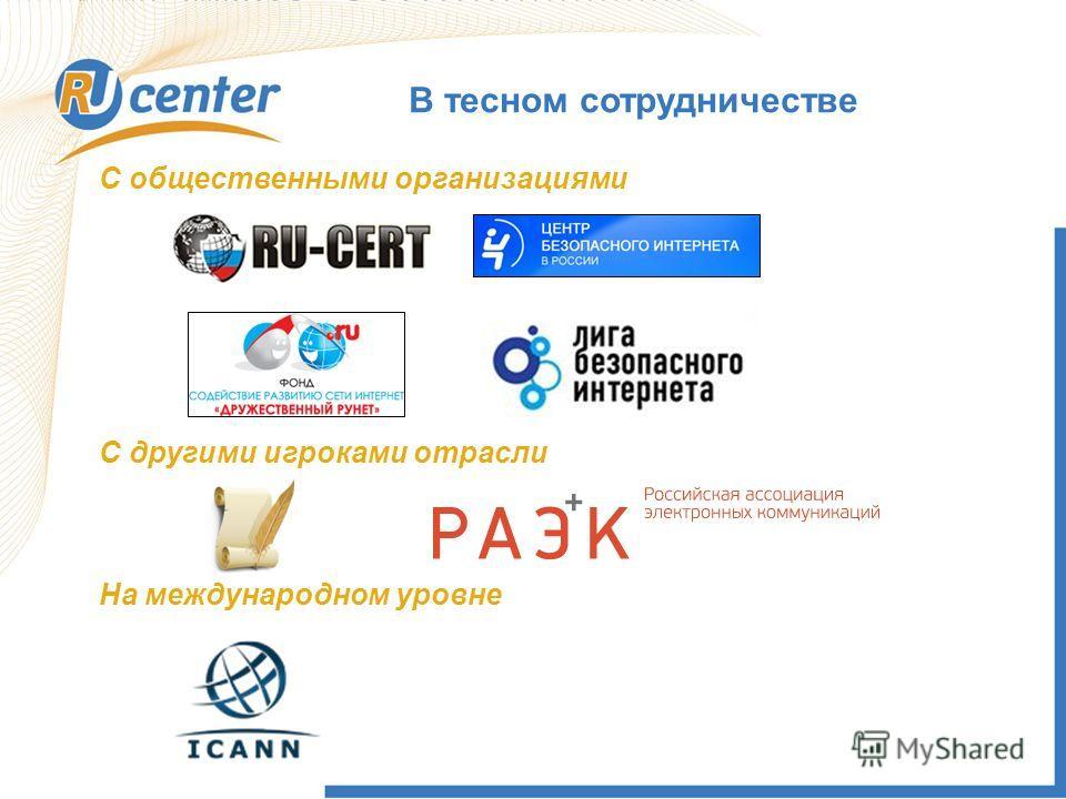 В тесном сотрудничестве С общественными организациями С другими игроками отрасли На международном уровне