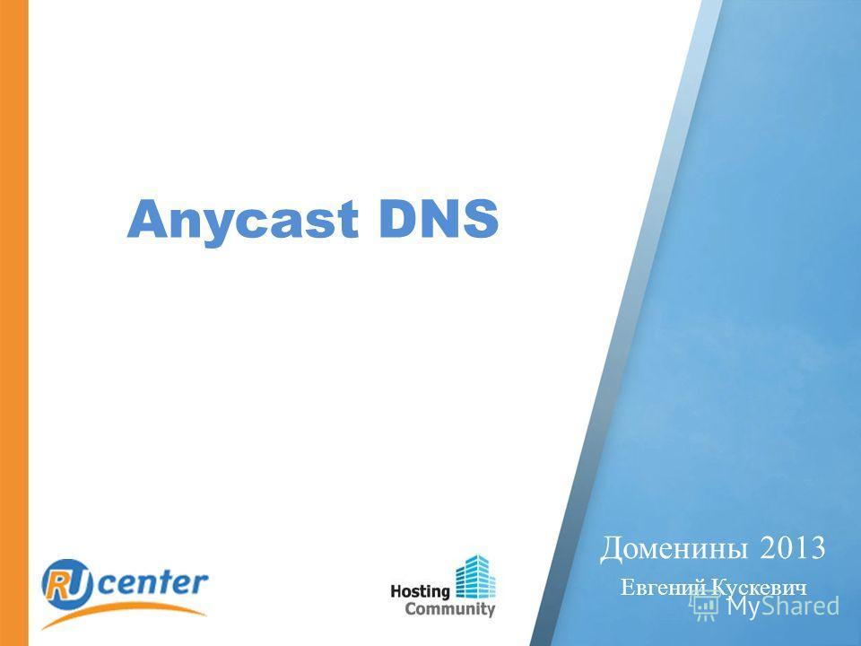 Anycast DNS Доменины 2013 Евгений Кускевич
