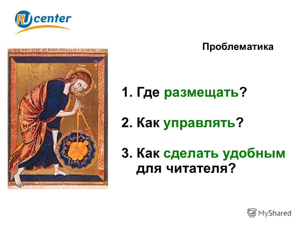 Проблематика 1. Где размещать? 2. Как управлять? 3. Как сделать удобным для читателя?