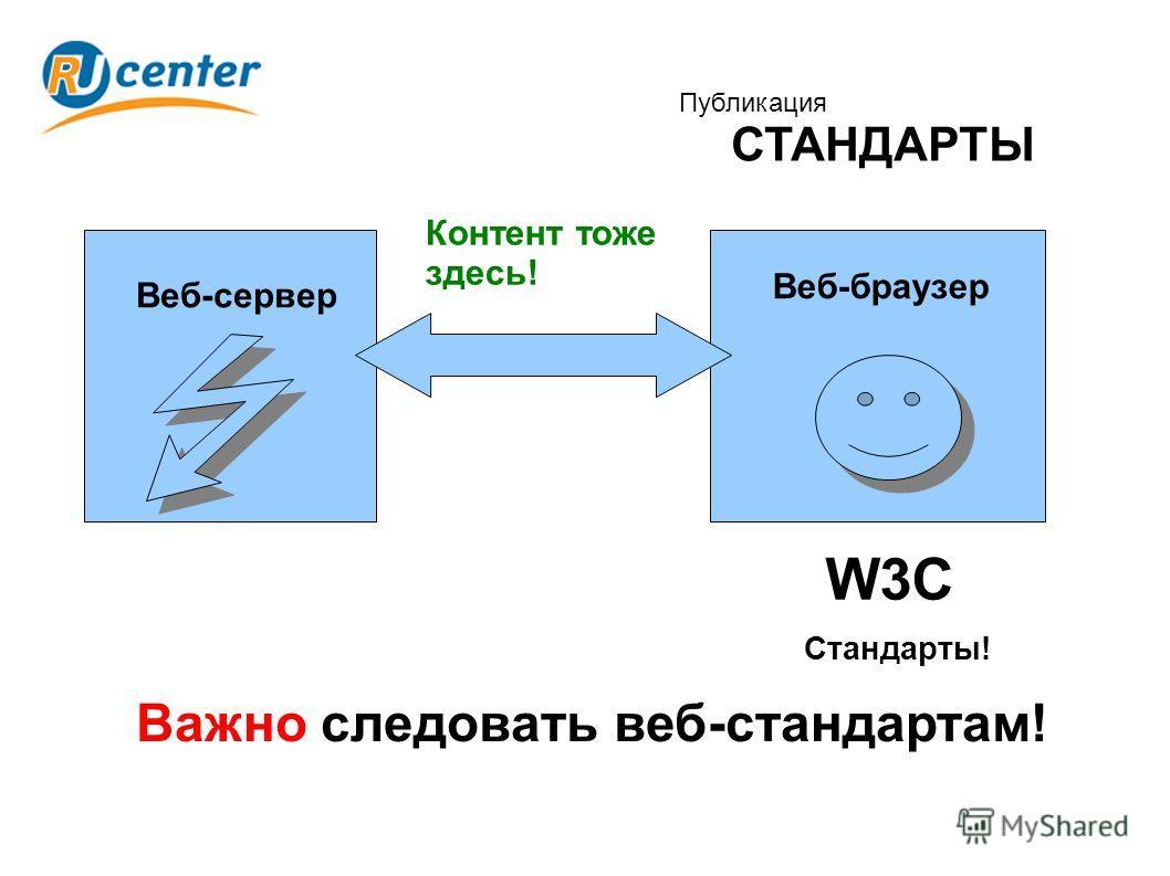 Публикация СТАНДАРТЫ Важно следовать веб-стандартам! Веб-сервер Веб-браузер Стандарты! W3C Контент тоже здесь!