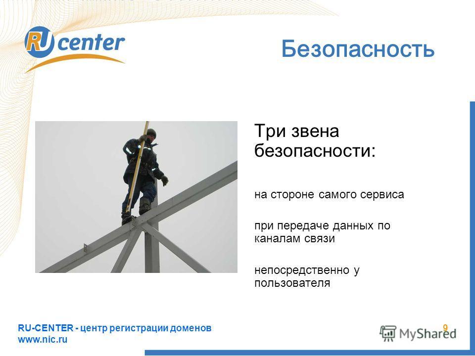 RU-CENTER - центр регистрации доменов www.nic.ru 9 Безопасность Три звена безопасности: на стороне самого сервиса при передаче данных по каналам связи непосредственно у пользователя