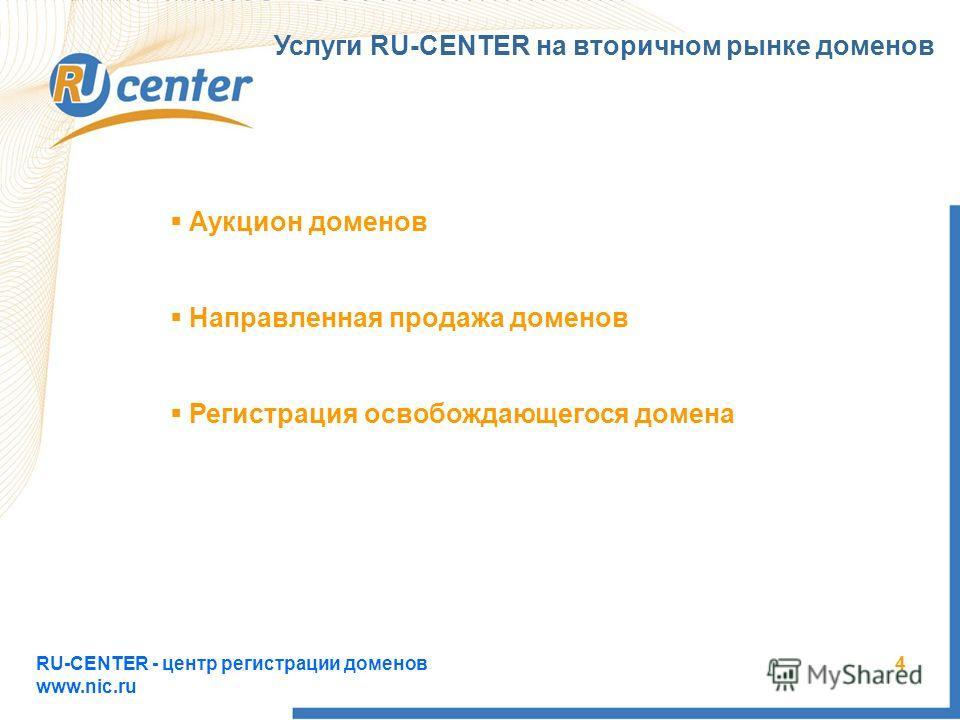RU-CENTER - центр регистрации доменов www.nic.ru 4 Услуги RU-CENTER на вторичном рынке доменов Аукцион доменов Направленная продажа доменов Регистрация освобождающегося домена