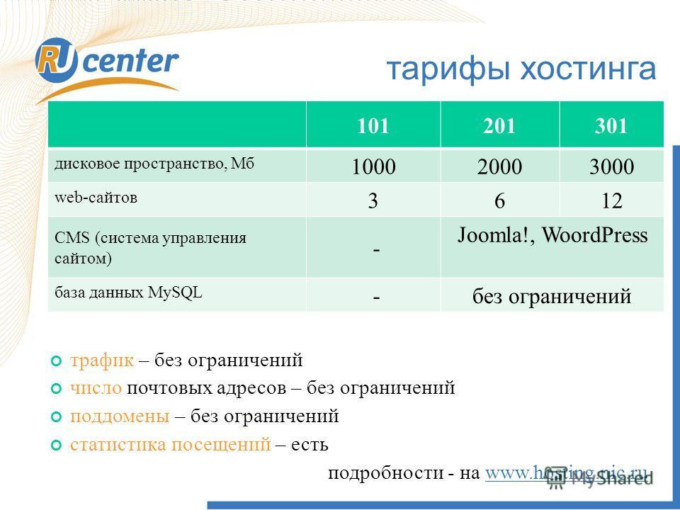 тарифы хостинга 101201301 дисковое пространство, Мб 100020003000 web-сайтов 3612 CMS (система управления сайтом) - Joomla!, WoordPress база данных MySQL -без ограничений трафик – без ограничений число почтовых адресов – без ограничений поддомены – бе