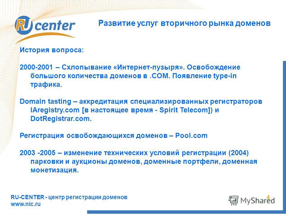 RU-CENTER - центр регистрации доменов www.nic.ru 4 Развитие услуг вторичного рынка доменов История вопроса: 2000-2001 – Схлопывание «Интернет-пузыря». Освобождение большого количества доменов в.COM. Появление type-in трафика. Domain tasting – аккреди