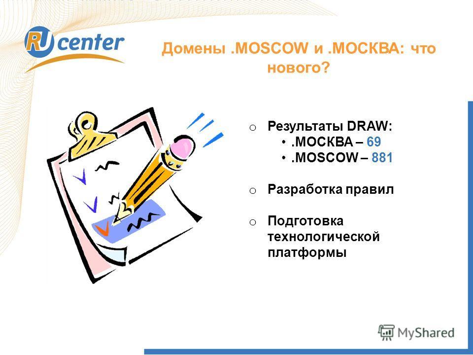 Домены.MOSCOW и.МОСКВА: что нового? o Результаты DRAW:.МОСКВА – 69.MOSCOW – 881 o Разработка правил o Подготовка технологической платформы