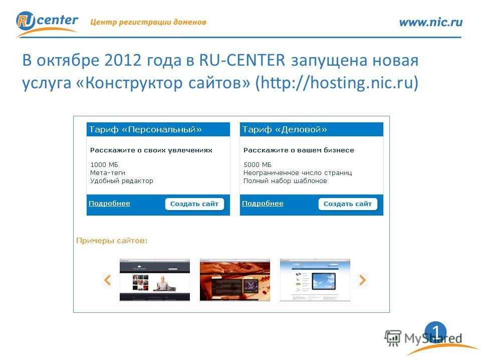 1 В октябре 2012 года в RU-CENTER запущена новая услуга «Конструктор сайтов» (http://hosting.nic.ru)