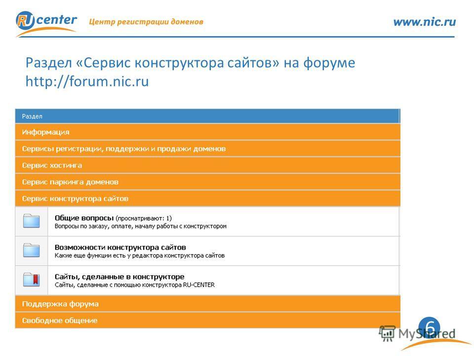 6 Раздел «Сервис конструктора сайтов» на форуме http://forum.nic.ru