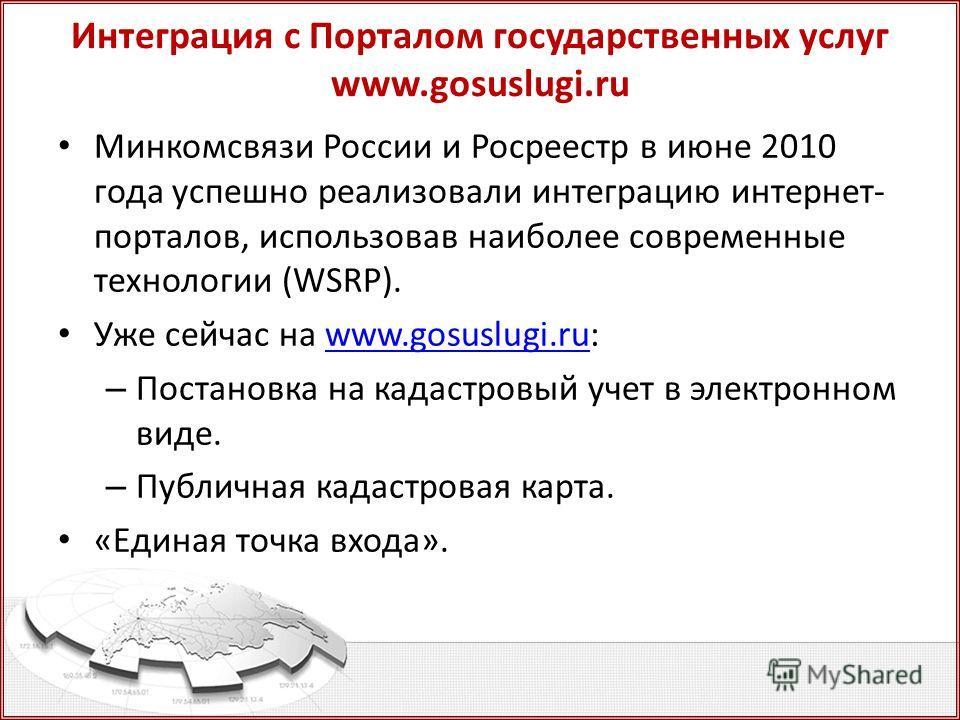 Интеграция с Порталом государственных услуг www.gosuslugi.ru Минкомсвязи России и Росреестр в июне 2010 года успешно реализовали интеграцию интернет- порталов, использовав наиболее современные технологии (WSRP). Уже сейчас на www.gosuslugi.ru:www.gos