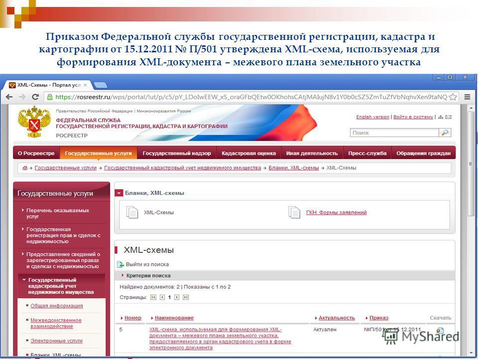 Приказом Федеральной службы государственной регистрации, кадастра и картографии от 15.12.2011 П/501 утверждена XML-схема, используемая для формирования XML-документа – межевого плана земельного участка