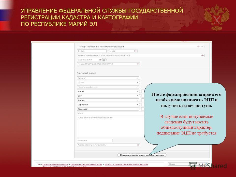 После формирования запроса его необходимо подписать ЭЦП и получить ключ доступа. В случае если получаемые сведения будут носить общедоступный характер, подписание ЭЦП не требуется