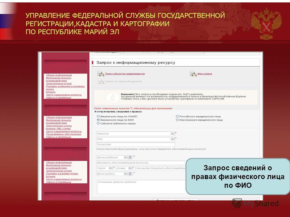 Запрос сведений о правах физического лица по ФИО