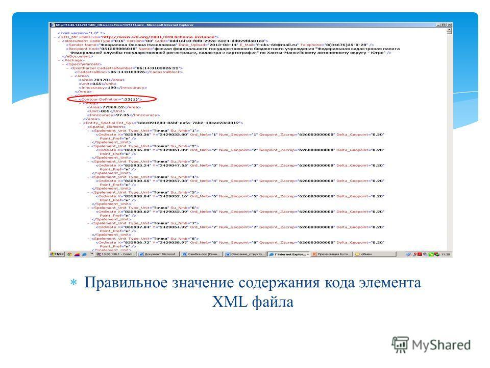 Правильное значение содержания кода элемента XML файла