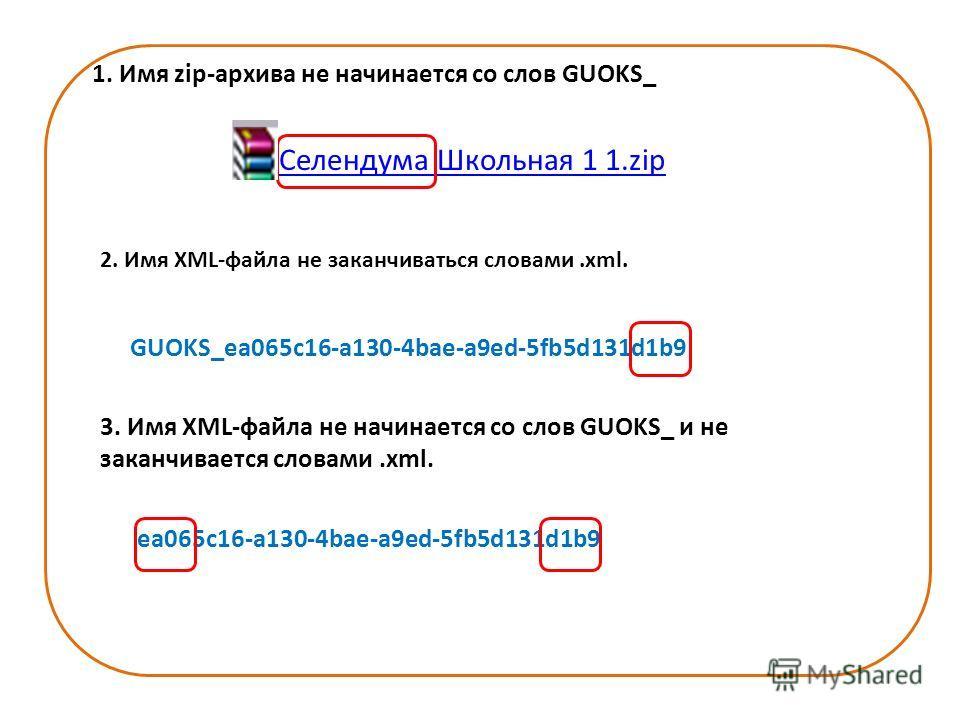 1. Имя zip-архива не начинается со слов GUOKS_ Селендума Школьная 1 1.zip 2. Имя XML-файла не заканчиваться словами.xml. GUOKS_ea065c16-a130-4bae-a9ed-5fb5d131d1b9 3. Имя XML-файла не начинается со слов GUOKS_ и не заканчивается словами.xml. ea065c16