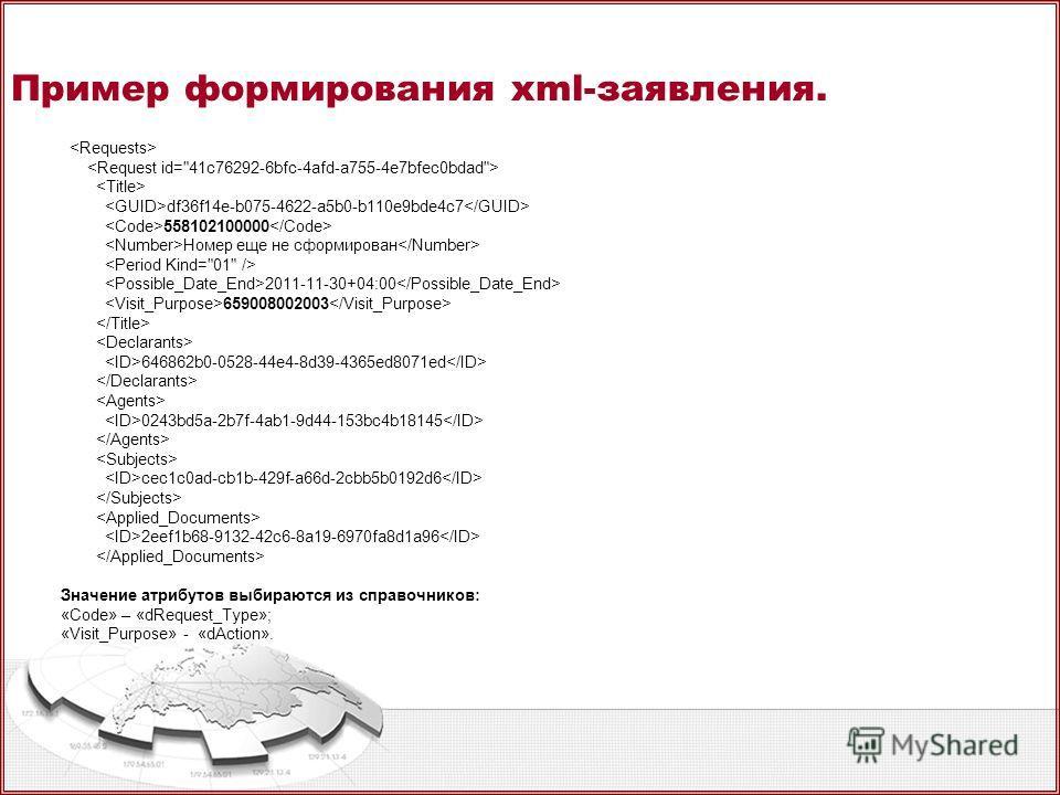 Пример формирования xml-заявления. df36f14e-b075-4622-a5b0-b110e9bde4c7 558102100000 Номер еще не сформирован 2011-11-30+04:00 659008002003 646862b0-0528-44e4-8d39-4365ed8071ed 0243bd5a-2b7f-4ab1-9d44-153bc4b18145 cec1c0ad-cb1b-429f-a66d-2cbb5b0192d6
