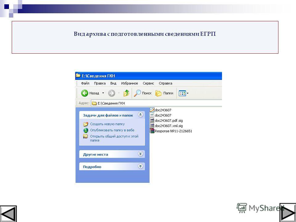 Вид архива с подготовленными сведениями ЕГРП