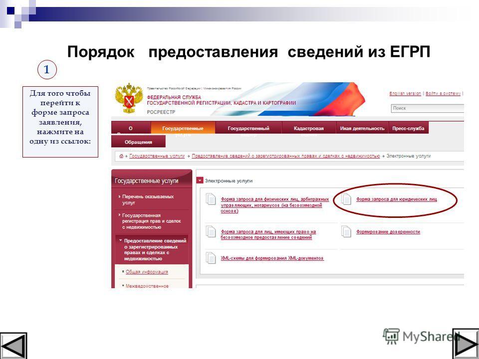 Для того чтобы перейти к форме запроса заявления, нажмите на одну из ссылок: 1 Порядок предоставления сведений из ЕГРП