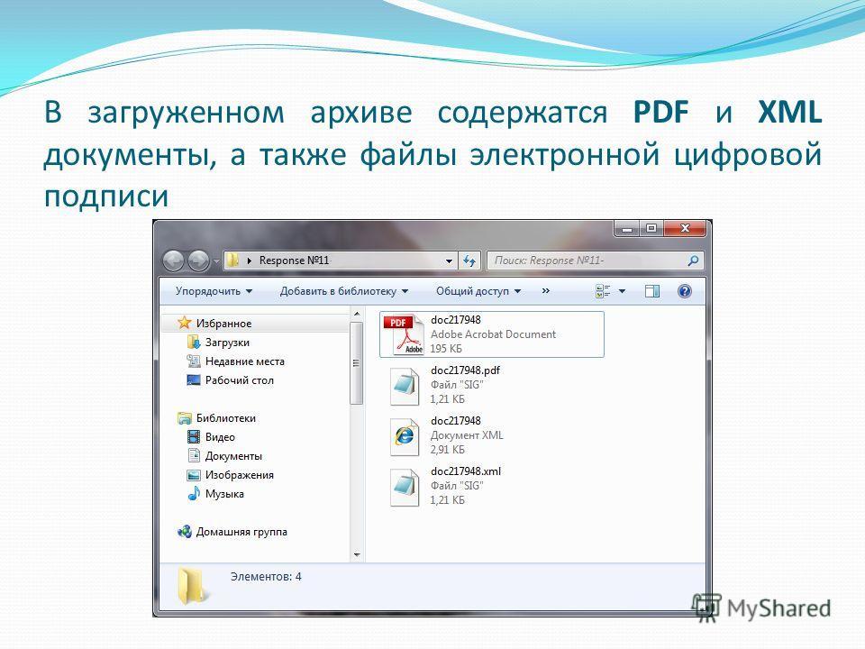 В загруженном архиве содержатся PDF и XML документы, а также файлы электронной цифровой подписи