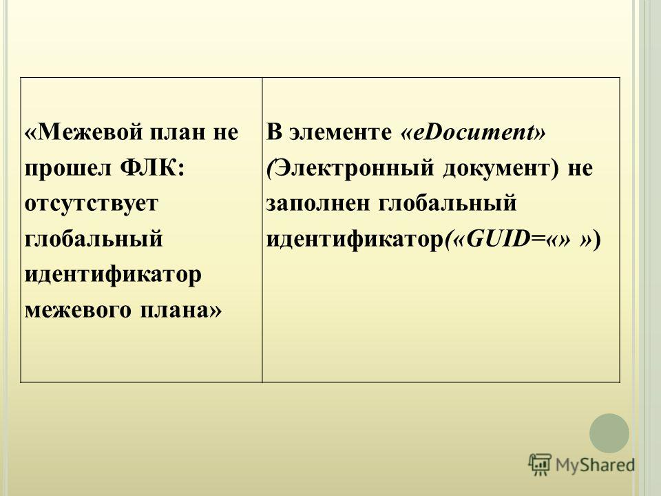«Межевой план не прошел ФЛК: отсутствует глобальный идентификатор межевого плана» В элементе «eDocument» (Электронный документ) не заполнен глобальный идентификатор(«GUID=«» »)