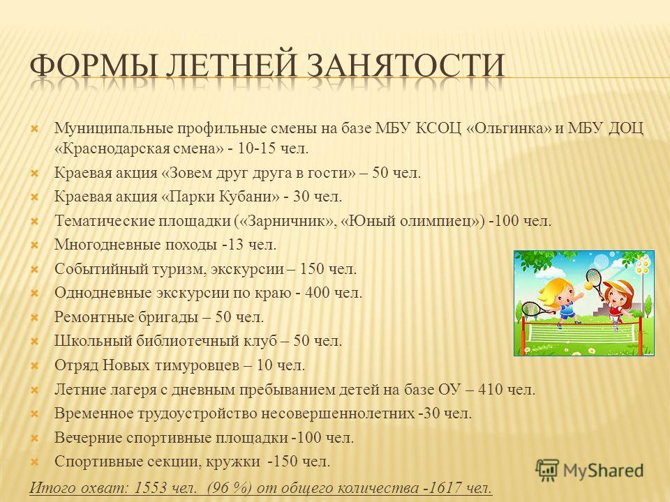 Муниципальные профильные смены на базе МБУ КСОЦ «Ольгинка» и МБУ ДОЦ «Краснодарская смена» - 10-15 чел. Краевая акция «Зовем друг друга в гости» – 50 чел. Краевая акция «Парки Кубани» - 30 чел. Тематические площадки («Зарничник», «Юный олимпиец») -10