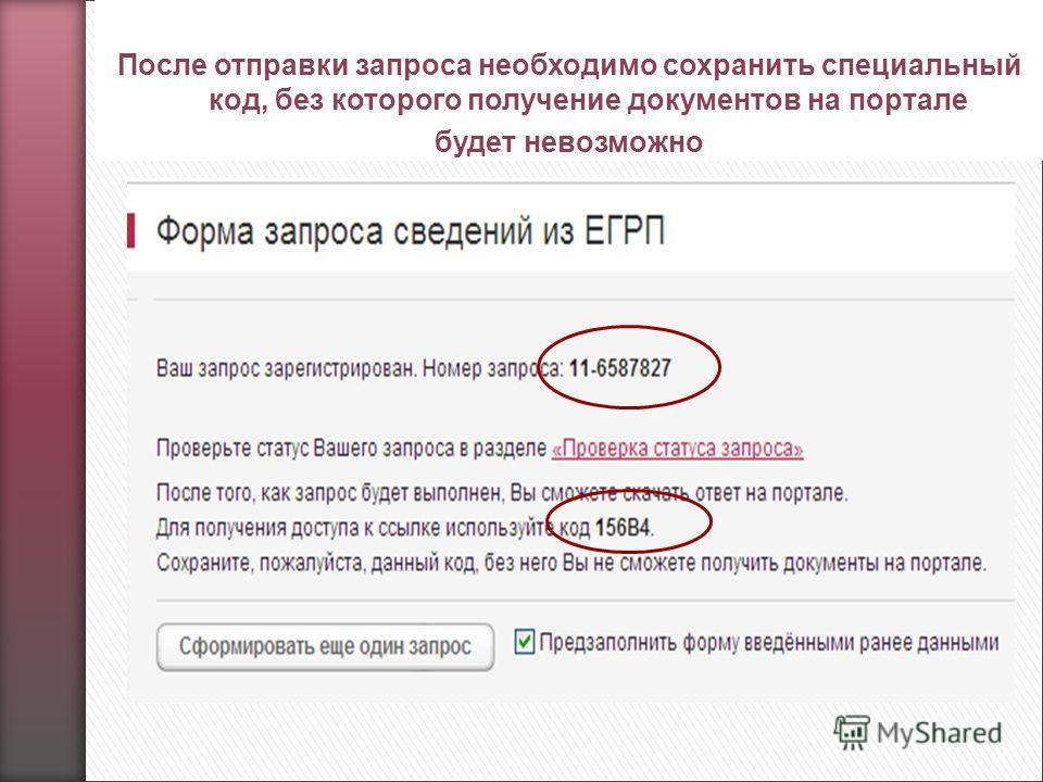 После отправки запроса необходимо сохранить специальный код, без которого получение документов на портале будет невозможно