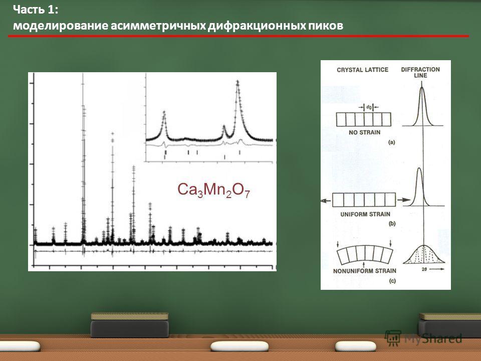 Часть 1: моделирование асимметричных дифракционных пиков Ca 3 Mn 2 O 7