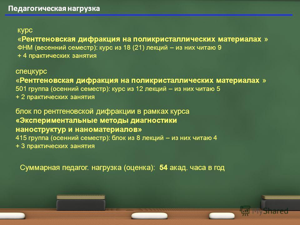 Педагогическая нагрузка курс «Рентгеновская дифракция на поликристаллических материалах » ФНМ (весенний семестр): курс из 18 (21) лекций – из них читаю 9 + 4 практических занятия спецкурс «Рентгеновская дифракция на поликристаллических материалах » 5