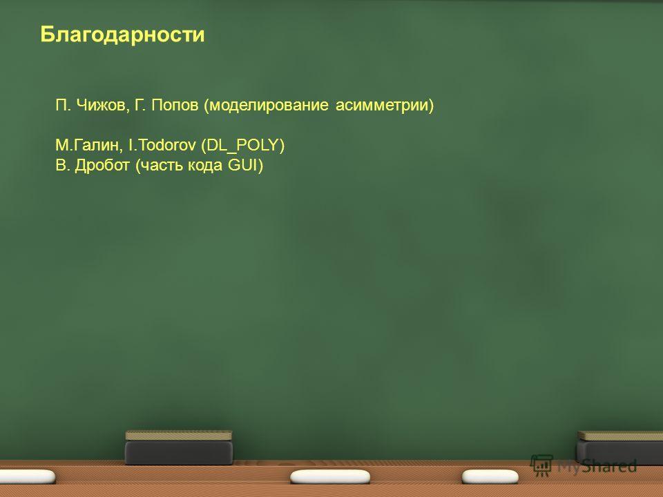 Благодарности П. Чижов, Г. Попов (моделирование асимметрии) М.Галин, I.Todorov (DL_POLY) В. Дробот (часть кода GUI)