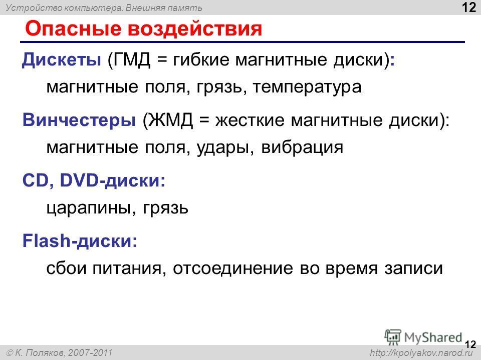 Устройство компьютера: Внешняя память 12 К. Поляков, 2007-2011 http://kpolyakov.narod.ru Опасные воздействия 12 Дискеты (ГМД = гибкие магнитные диски): магнитные поля, грязь, температура Винчестеры (ЖМД = жесткие магнитные диски): магнитные поля, уда