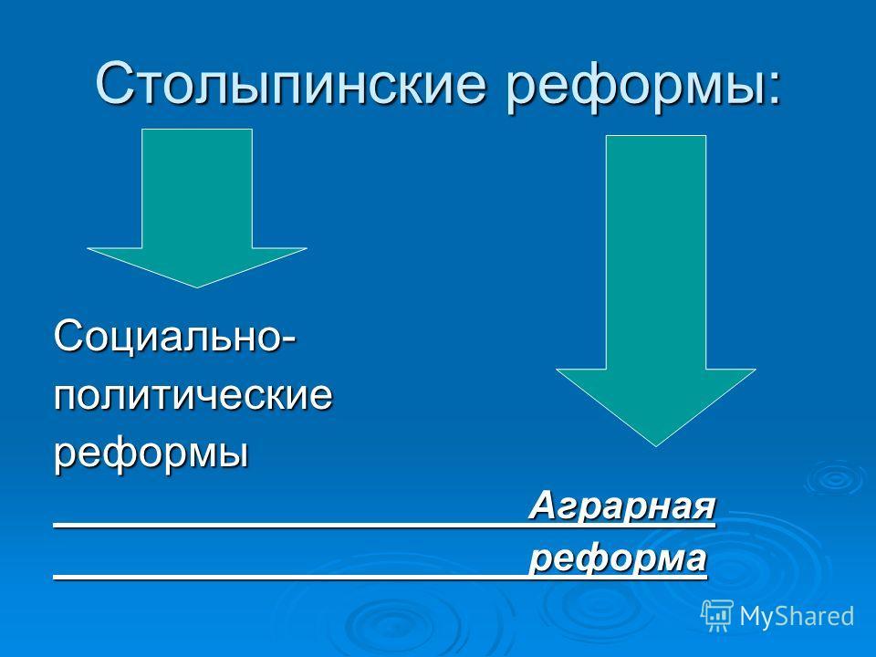 Столыпинские реформы: Социально-политическиереформы Аграрная Аграрная реформа реформа