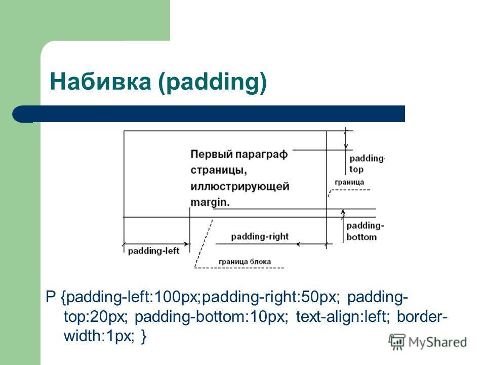 Набивка (padding) P {padding-left:100px;padding-right:50px; padding- top:20px; padding-bottom:10px; text-align:left; border- width:1px; }