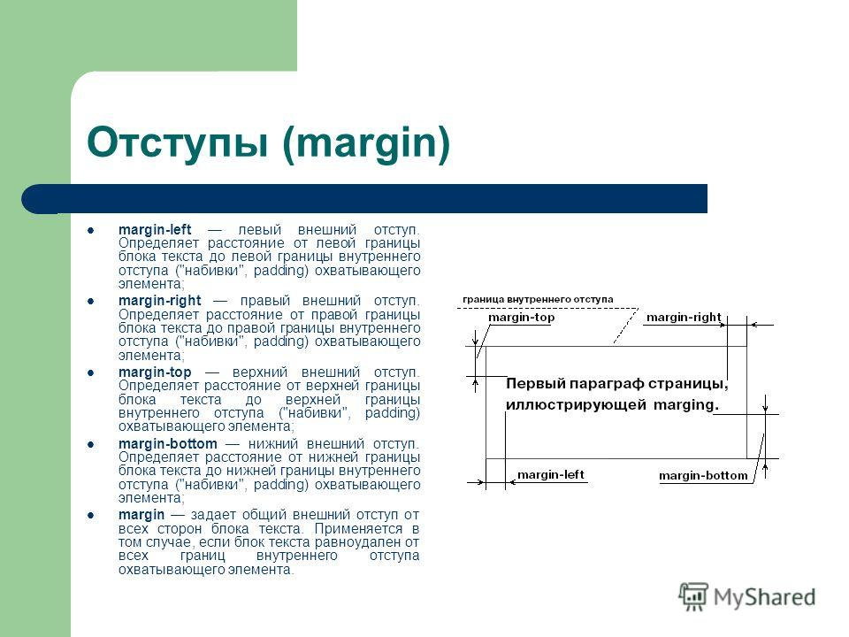 Отступы (margin) margin-left левый внешний отступ. Определяет расстояние от левой границы блока текста до левой границы внутреннего отступа (