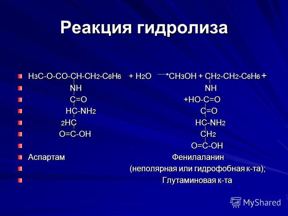 Реакция гидролиза H 3 C-O-CO-CH-CH 2 -C 6 H 6 + H 2 O CH 3 OH + CH 2 -CH 2 -C 6 H 6 + NH NH NH NH C=O +HO-C=O C=O +HO-C=O HC-NH 2 C=O HC-NH 2 C=O 2 HC HC-NH 2 2 HC HC-NH 2 O=C-OH CH 2 O=C-OH CH 2 O=C-OH O=C-OH Аспартам Фенилаланин (неполярная или гид