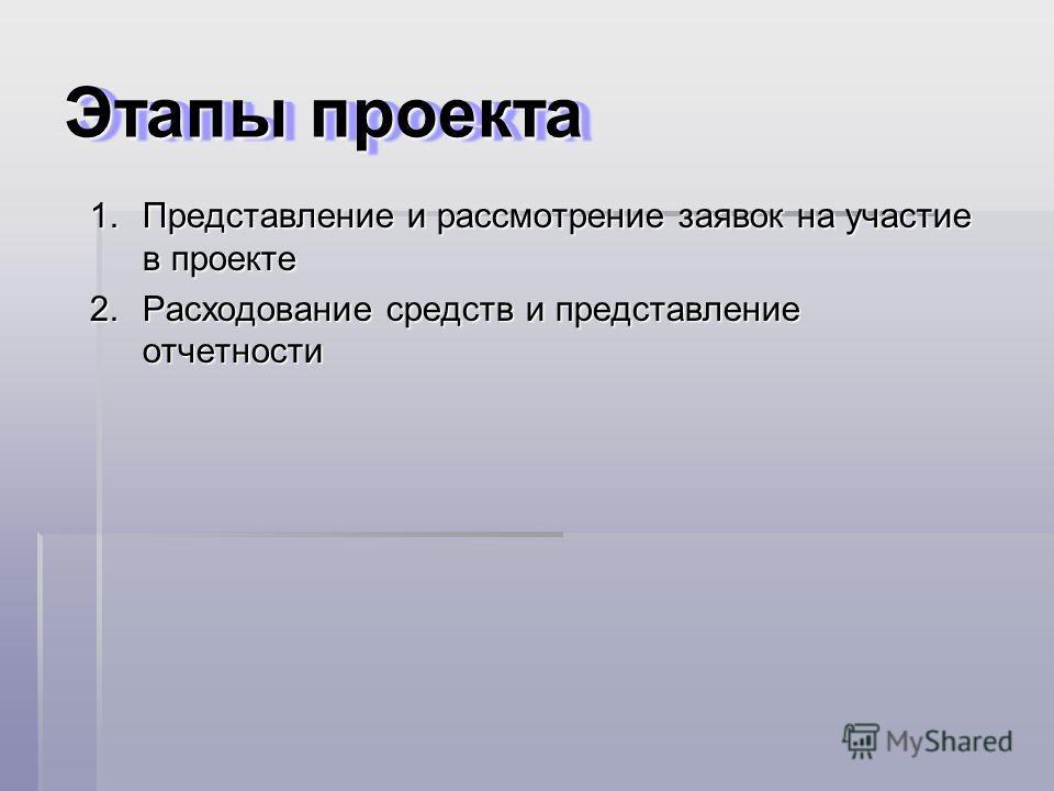 Этапы проекта 1.Представление и рассмотрение заявок на участие в проекте 2.Расходование средств и представление отчетности
