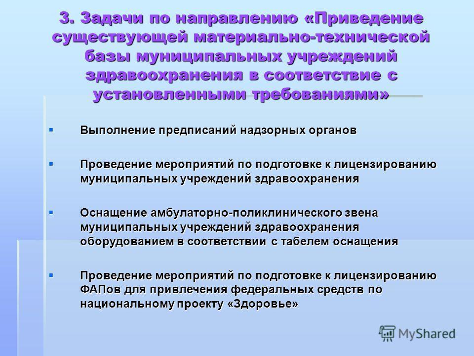 Выполнение предписаний надзорных органов Выполнение предписаний надзорных органов Проведение мероприятий по подготовке к лицензированию муниципальных учреждений здравоохранения Проведение мероприятий по подготовке к лицензированию муниципальных учреж